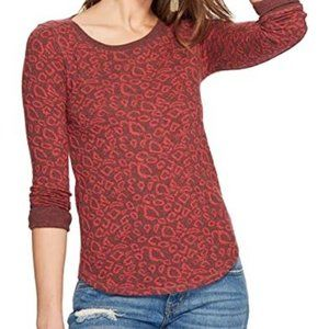 Lucky Red Cheetah Print Pullover L/S Sweater Small